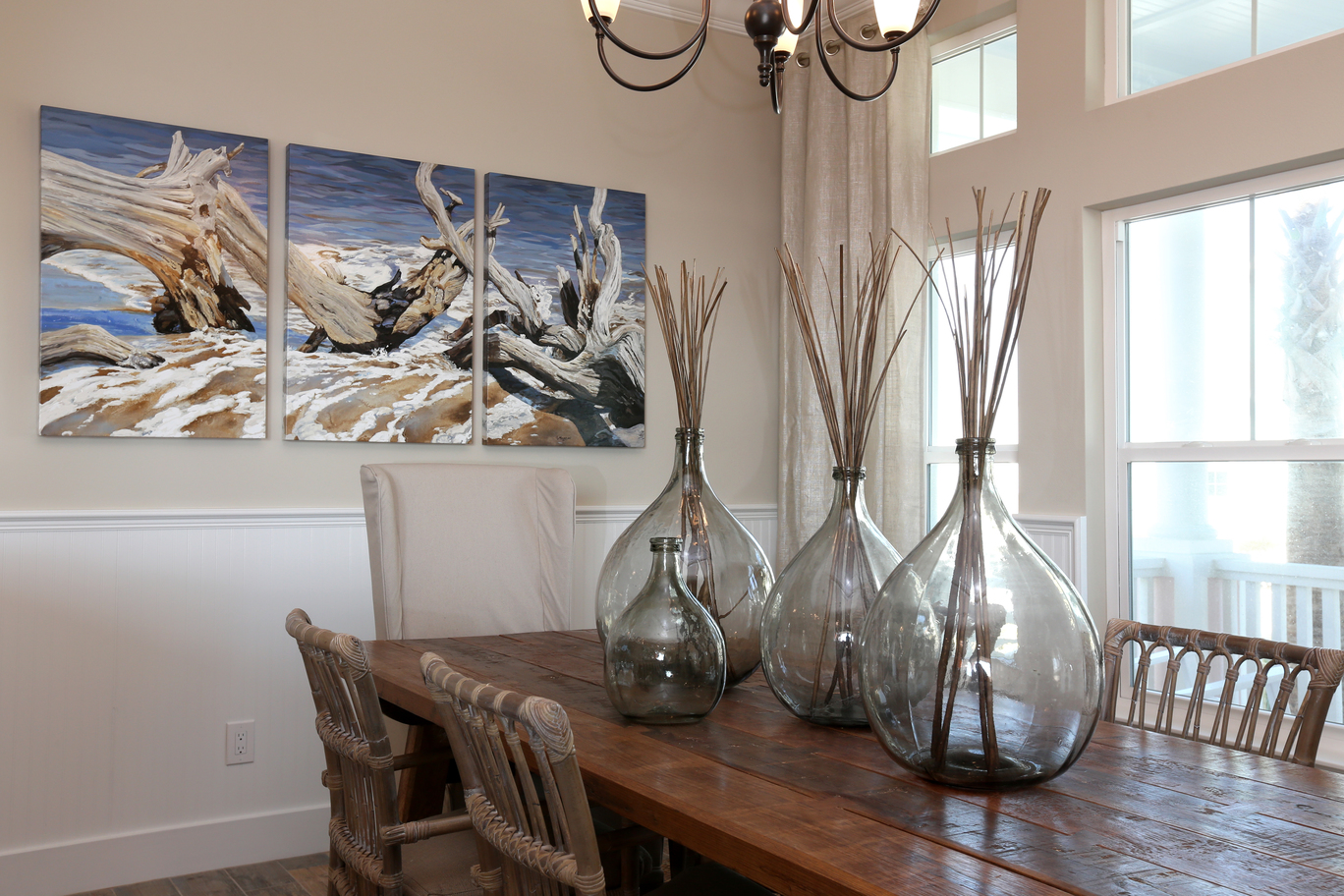 A.D.S. Designs top interior designer in jacksonville ocean painting wooden stick decor